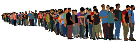 Illustration pour Group of people waiting in line vector isolated on white background. Group of refugees, migration crisis in Europe. Turkey war migration waves going through Schengen Area. Border situation in EU. - image libre de droit