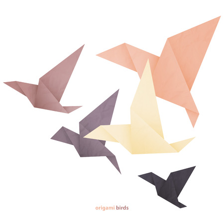 Illustration for freedom concept image with five origami birds isolated on white background - Royalty Free Image