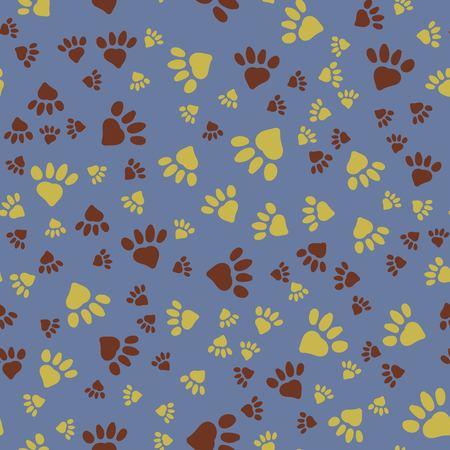 Ilustración de Many animal footprints seamless pattern. Vector background. - Imagen libre de derechos