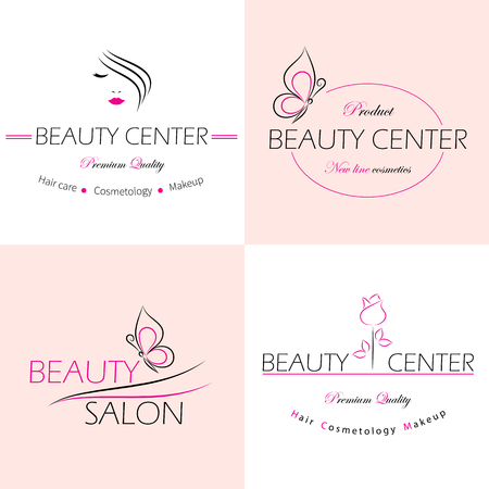 Illustration pour Set of vector logo templates, labels and badges for beauty salon. - image libre de droit