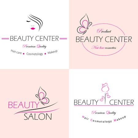 Ilustración de Set of vector logo templates, labels and badges for beauty salon. - Imagen libre de derechos