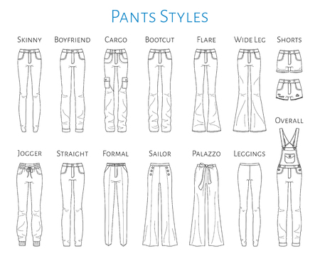Illustration pour Women pants collection, vector sketch illustration. - image libre de droit