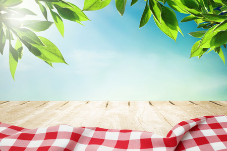 Photo pour Sunlight on summer sky with wooden picnic table in red tablecloth - image libre de droit
