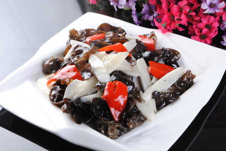 Photo for stir fried fungus with chinese yam and chili - Royalty Free Image
