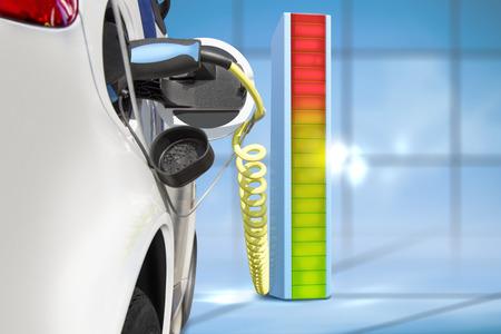 Photo pour Electric car charging at charging  station - image libre de droit