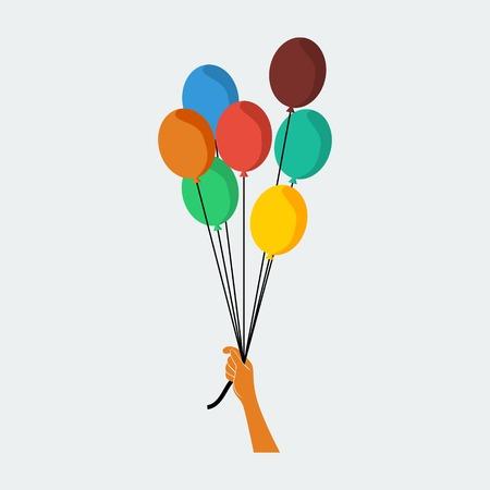 Illustration pour Editable Hand Holding Balloons Vector Illustration - image libre de droit