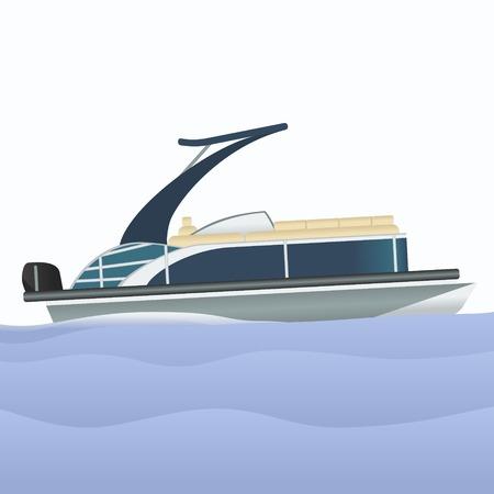 Ilustración de Editable Pontoon Boat Vector Illustration - Imagen libre de derechos
