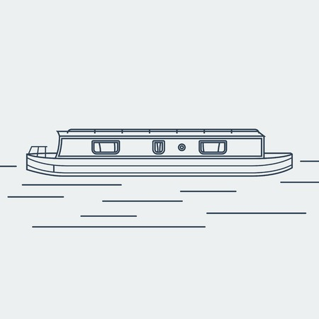 Ilustración de Editable Narrow Boat Vector Illustration in Outline Style - Imagen libre de derechos