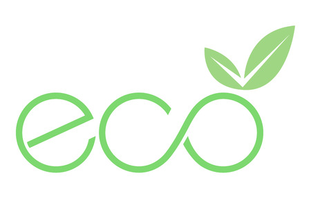 Ilustración de An eco icon with leaf vector illustration on white background. - Imagen libre de derechos