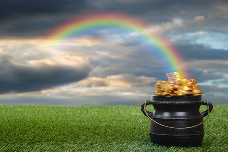 Photo for pot of gold with rainbow - Royalty Free Image