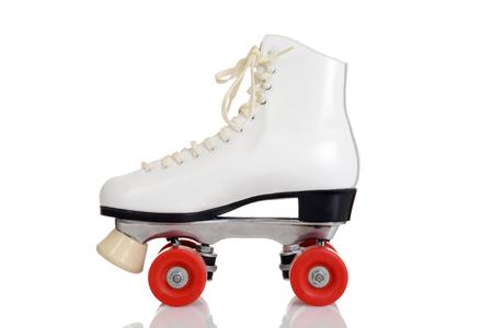 Photo pour side view women white quad roller skate - image libre de droit