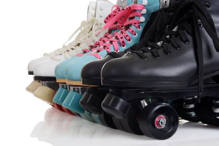 Photo pour closeup row of quad roller skates - image libre de droit