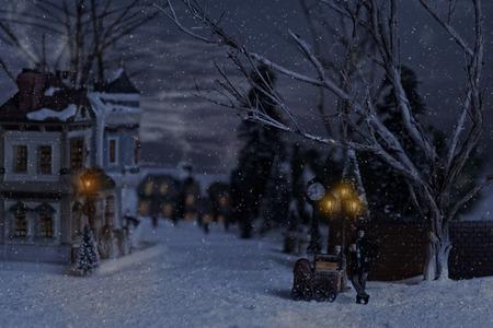 Foto de victorian man selling chestnuts in village at christmas - Imagen libre de derechos