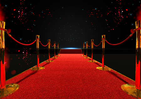 Photo pour long red carpet between rope barriers with stair at the end - image libre de droit