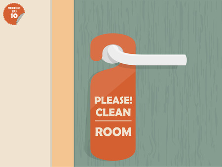 Illustration for door lock hanging room tag with text shown please clean room,room tag design - Royalty Free Image