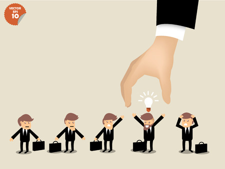 Ilustración de recruitment concept, business man choosing worker who has idea from group of business people. - Imagen libre de derechos