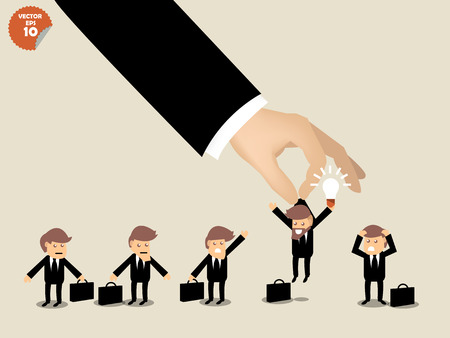Illustration pour recruitment concept, business man choosing worker who has idea from group of business people. - image libre de droit