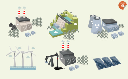 Ilustración de set of different power plant graphics design of different power plant renewable and nonrenewable energy sources: solar wind waterhydro powerpetroleum coal geothermal gas nuclear and biofuel. - Imagen libre de derechos