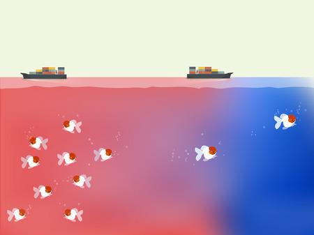 Ilustración de fishes are finding out the way to blue ocean,beautiful vector of blue ocean and red ocean business strategy concept - Imagen libre de derechos