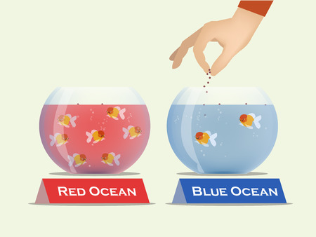 Illustration pour gold fish in bowls which one is contained red water and the other contained blue water, vector of blue ocean and red ocean business strategy concept - image libre de droit