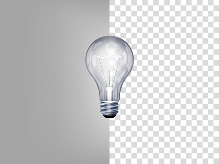 Illustration pour beautiful realistic illustration of light bulb on transparent background - image libre de droit
