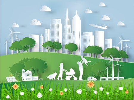 Illustration pour Illustration vector of modern eco world environment and happiness family,graphic design of eco modern world in paper art style - image libre de droit