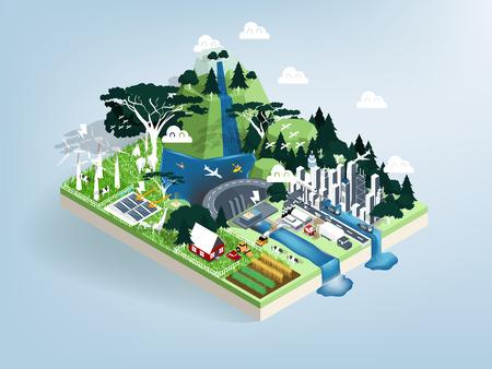 Illustration pour illustration vector isometric design concept of ecology modern city with nature, renewable energy future world concept, eco friendly city. - image libre de droit