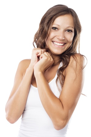 Joyful woman on white background