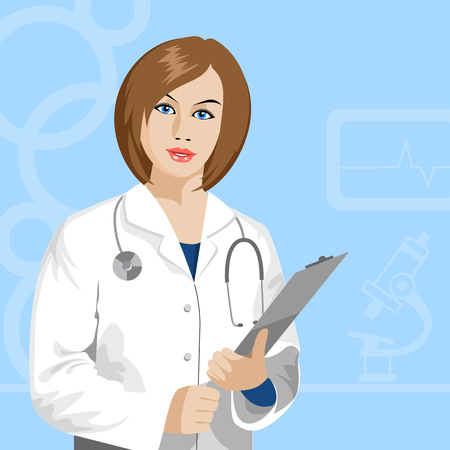 Illustration pour female doctor with stethoscope - image libre de droit