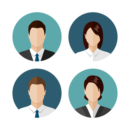 Ilustración de Business people icons isolated on white background. Circle avatar collection. Modern flat style design - Imagen libre de derechos