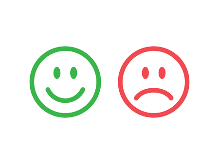 Illustration pour Set of smile emoticons. Line icons emoticons. Happy and unhappy smileys. Green and red color. Vector illustration - image libre de droit
