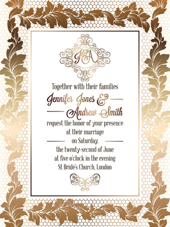 Illustrazione per Vintage baroque style wedding invitation card template.. Elegant formal design with damask background, traditional decoration for wedding. Gold on white background - Immagini Royalty Free
