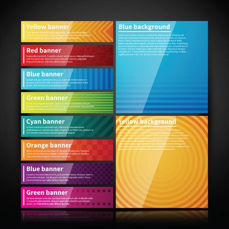 Ilustración de Set of bright glossy banners and two simple backgrounds. - Imagen libre de derechos