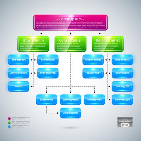 Ilustración de Organization chart with colorful glossy elements. Useful for presentations. - Imagen libre de derechos