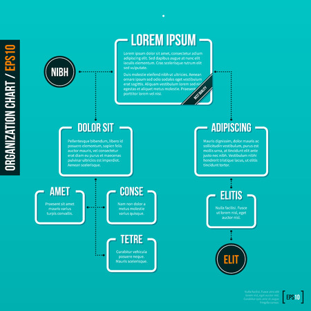Ilustración de Organization chart template on turquoise background.  . - Imagen libre de derechos