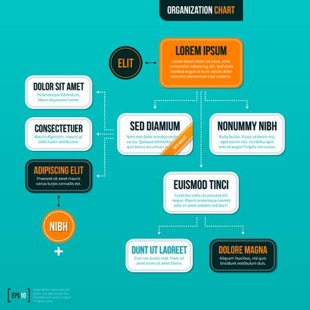 Ilustración de Modern organizational chart on turquoise background. - Imagen libre de derechos