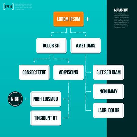 Ilustración de Organization chart template on turquoise background. - Imagen libre de derechos