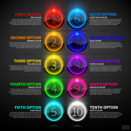 Illustration pour Set of colorful glowing options. - image libre de droit