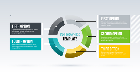 Ilustración de Horizontal pie infographics template with five segments in clean business style on white background - Imagen libre de derechos