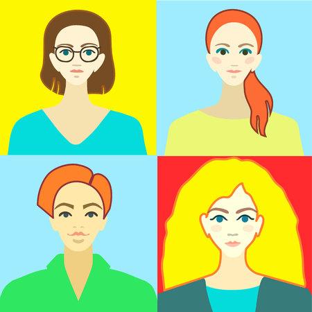Foto de group professional men and womans flat material design icon light - Imagen libre de derechos