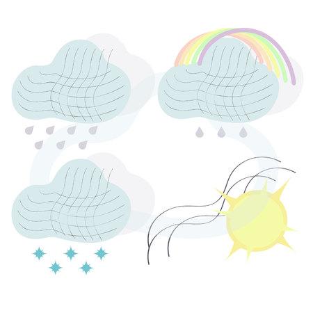 Foto de Climate icons set with rain, crescent, clouds, sunshine and other wet elements. Isolated  illustration climate icons. - Imagen libre de derechos