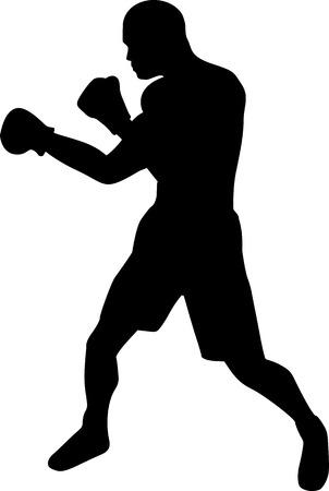Illustration pour Boxer Silhouette - image libre de droit