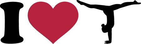 Illustration pour I love Gymnastics Silhouette - image libre de droit