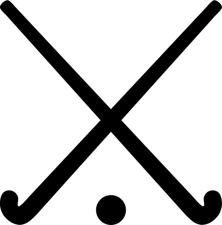 Illustration pour Field Hockey Sticks with ball - image libre de droit