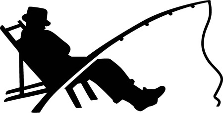 Illustration for Fishing Silhouette Man Rod - Royalty Free Image