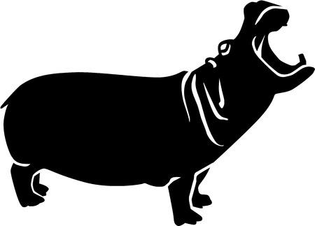 Illustration for Roaring Hippopotamus - Royalty Free Image