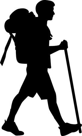 Ilustración de Man hiking with stick - Imagen libre de derechos
