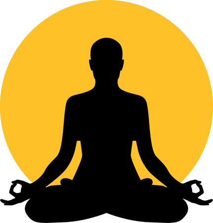 Ilustración de Meditation in front of moon sun - Imagen libre de derechos