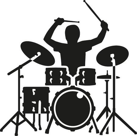 Illustration pour Drum kit with drummer in action - image libre de droit