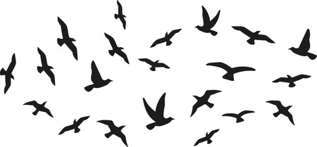 Illustration pour Flock of flying birds - image libre de droit